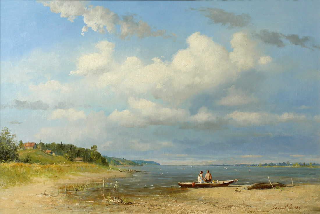 On the r.Volga, Oleg Leonov- painting, summer day, river, boats, love, clouds, gulls