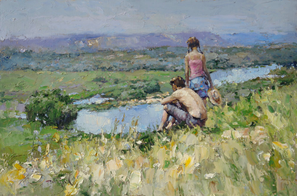 Silence, Alexi Zaitsev- Impressionism genre painting, boy, girl, river