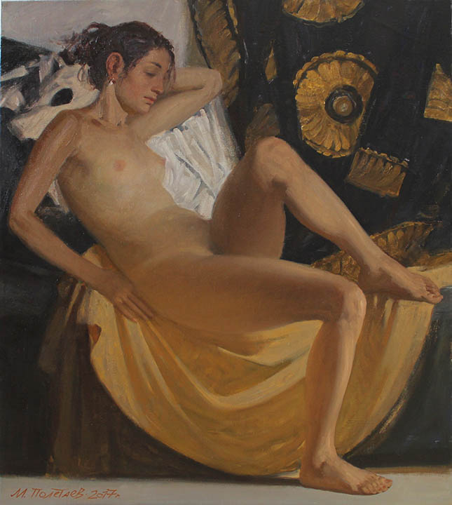 Nude on the background of a khan's bathrobe, Michail Poletayev