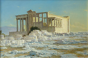 Athens Acropolis in the morning. The Erechtheum