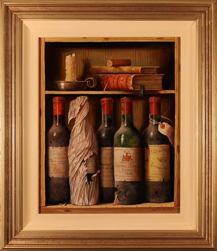 Still-life with a candle and bottles, Valery Silyanov- painting, wine bottles, old books, candle, still life