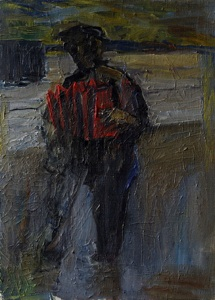 Accordion player on the platform