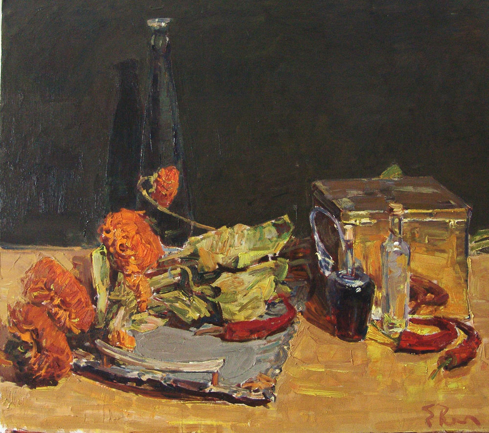 Still life with dry sunflowers, Evgeny Vechtomov