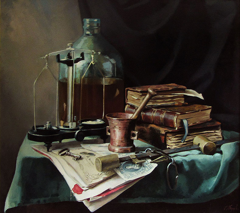 Cabinet Still Life, Elena Obukhova- old books, scales, bottle, mortar and pestle, painting