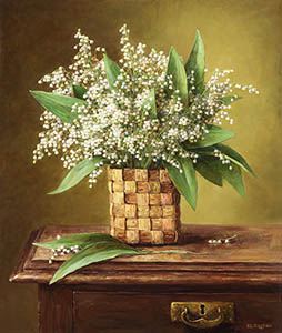 Lilies of the valley in the basket