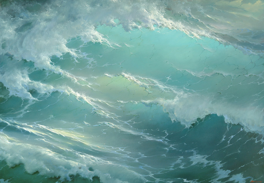 Among the waves, George Dmitriev- painting, seascape, blue transparent wave, light