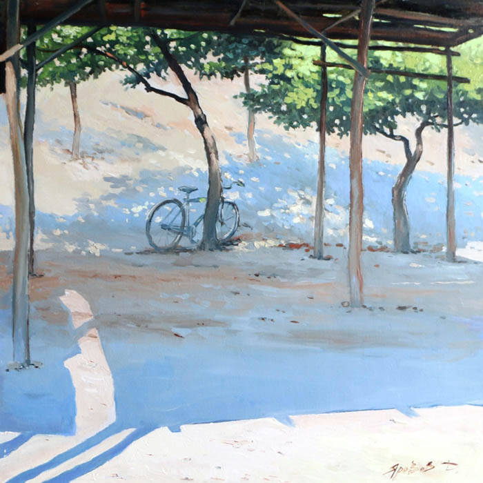 Parking is free, Dmitry Yarovov- picture with a bicycle, canopy from the sun, oriental motive