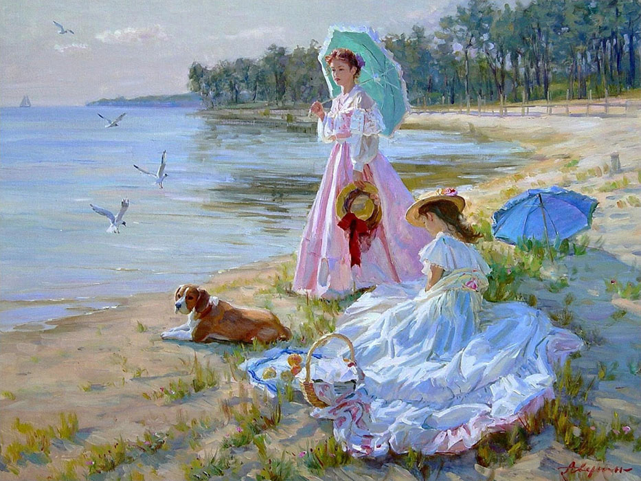 On the shore, Alexandr Averin- girls in summer dresses, hats, umbrellas, dog painting