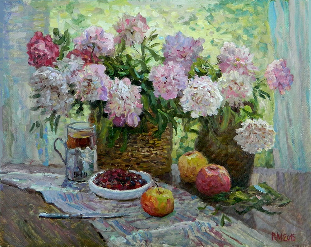 Peonies, Rem Saifulmulukov- painting, spring, bouquet, flowers, table, still life