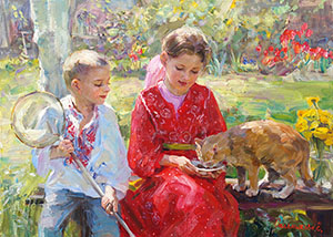 Children with the cat