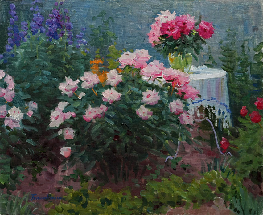 Warm evening, Evgeny Balakshin- painting, spring, garden, bush peonies, beautiful flowers