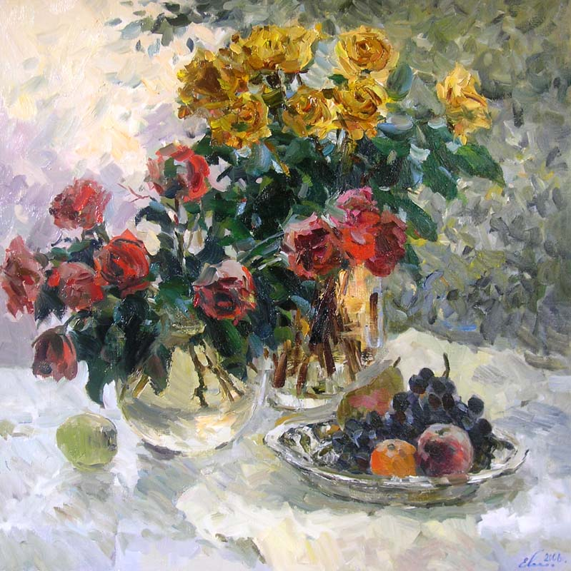 Red and yellow roses, Eugeni Malykh
