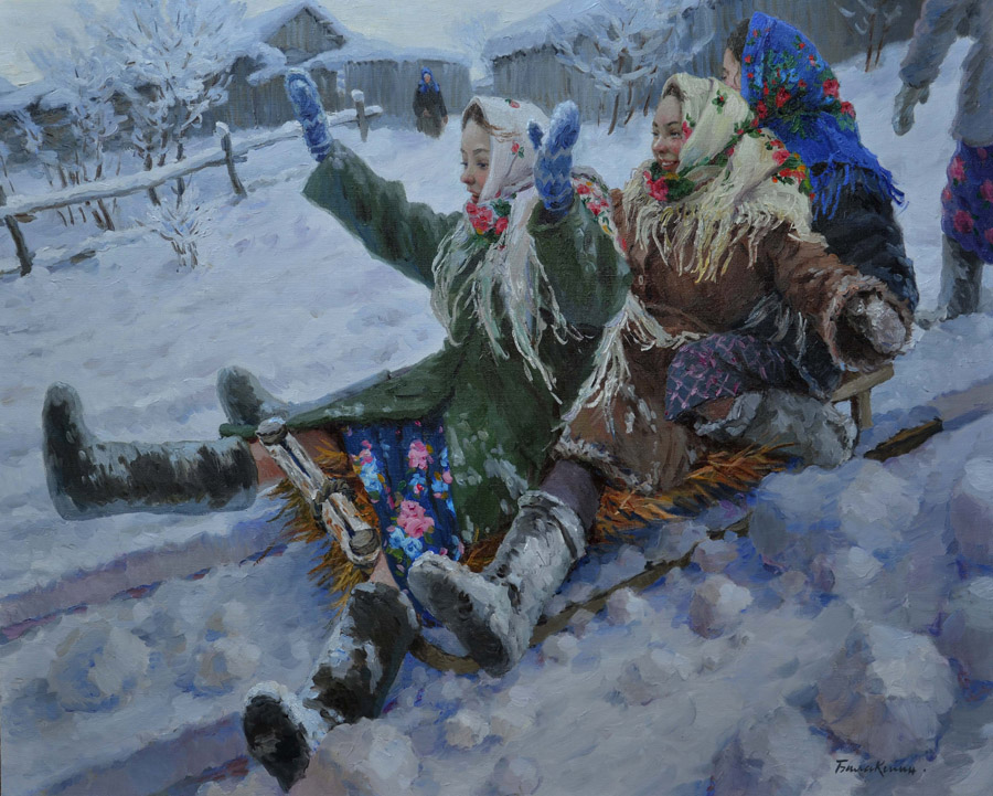 Tobogganing, Evgeny Balakshin- painting, winter day, snow, Russian beauties, sledge