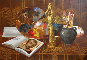 Still-life with art attributes