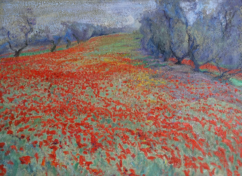 Boléro, Maria Sherbinina- painting, field of poppies, trees, flowers, landscape