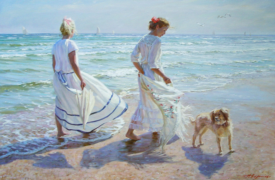 Windy day, Alexandr Averin- two girls on the beach, dog, painting Impressionism