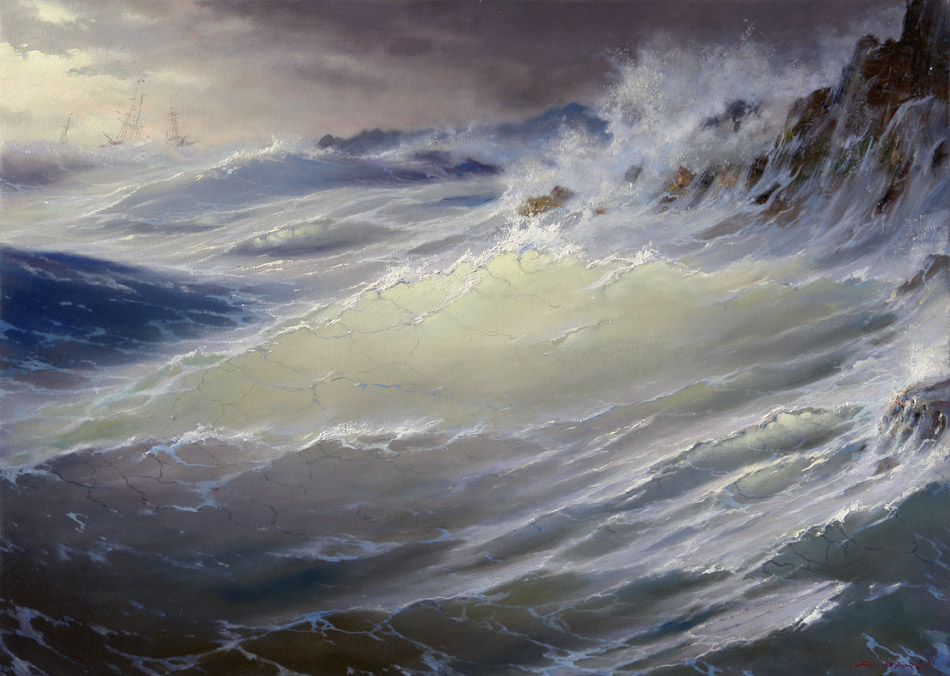 At rocks, George Dmitriev- painting, blue sea, big waves, rocks, storm, ships