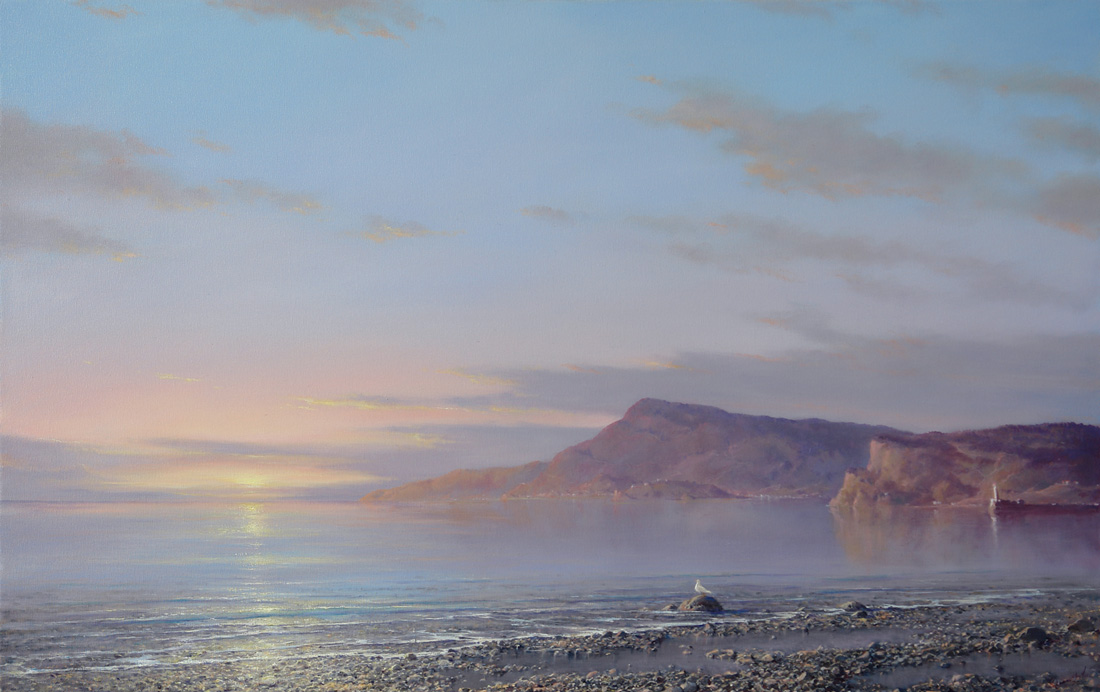 The Seagull and Sun, George Dmitriev- painting, sunrise at sea, sunrise, mountains, calm, quiet