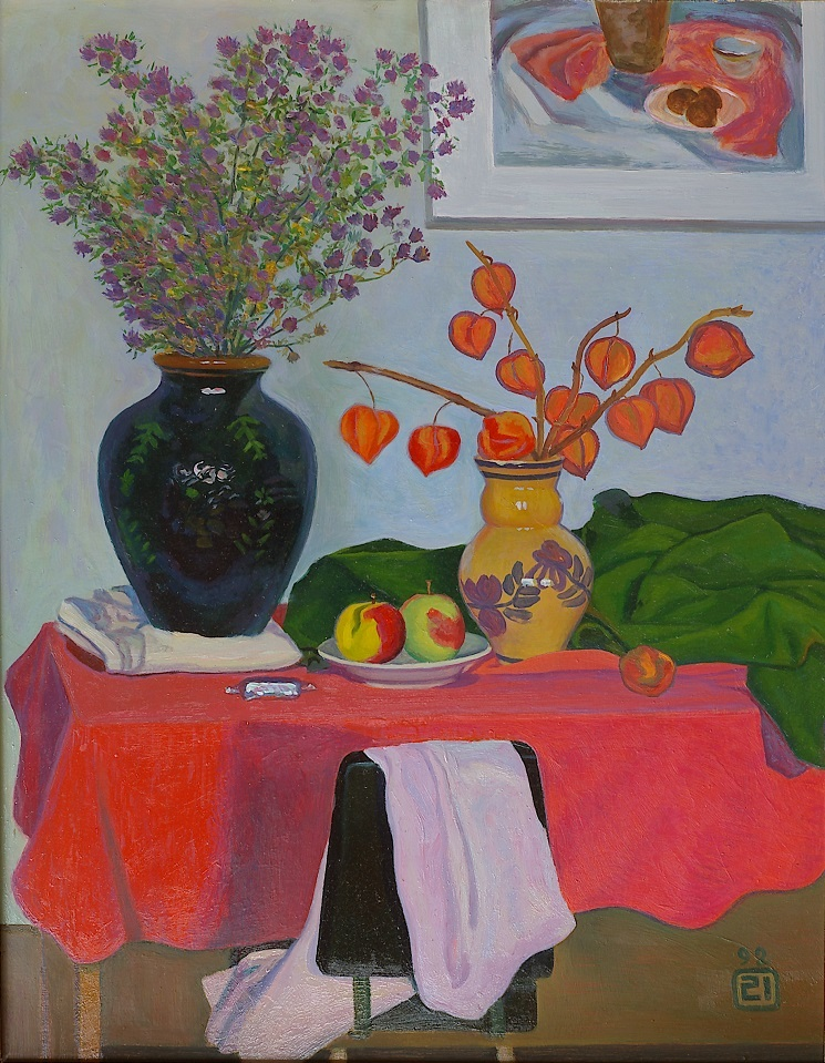 Still life with red tablecloth, Moisey Li
