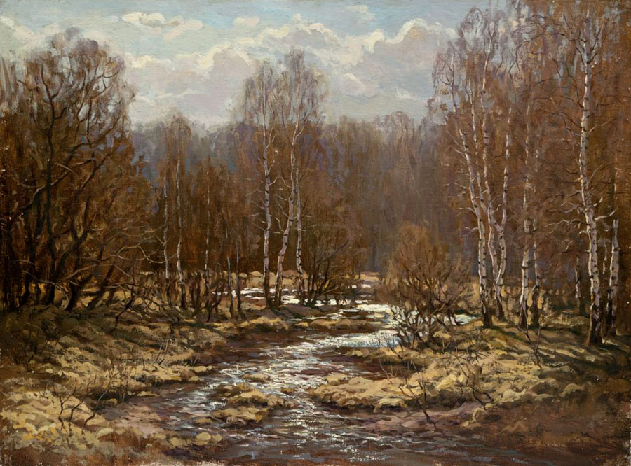 Breath of spring, Rem Saifulmulukov- painting, spring, forest, spring creek, realism, landscape