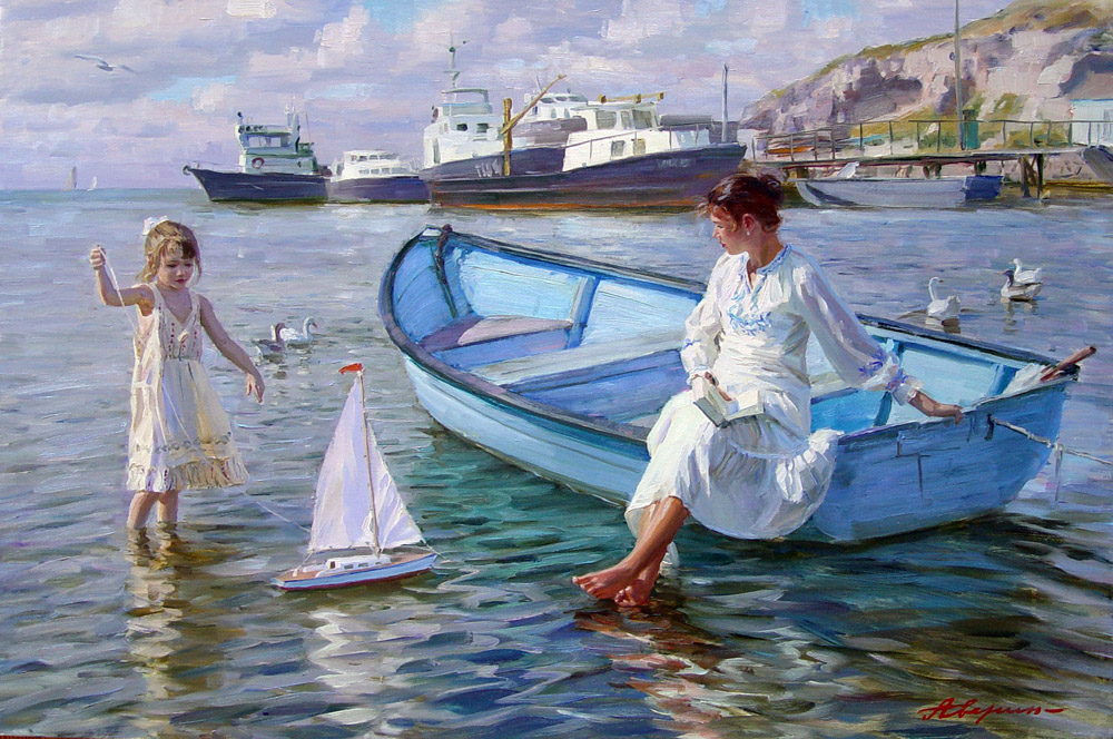 In the boat, Alexandr Averin- painting, sea, boat, ship, mother, daughter, impressionism