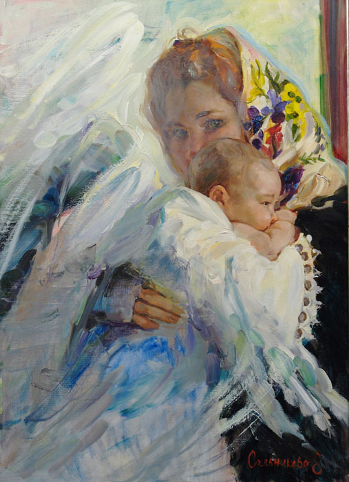 Ангел, Elena Salnikova- painting, a young mother with her baby, tenderness