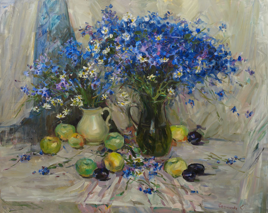 Still life with cornflowers, Elena Salnikova- painting, bouquet of wild flowers, apples, plums