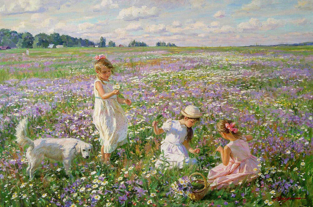 Flowering meadow, Alexandr Averin- children playing, white dog, baby theme, impressionism