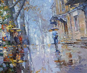 Autumn rain on the boulevards