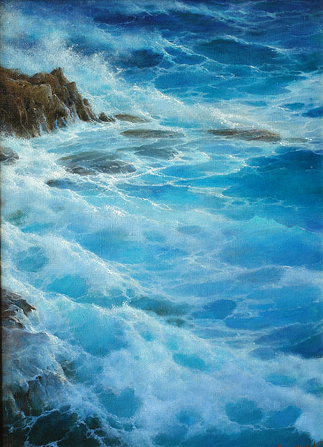 Waves at the rocks, George Dmitriev