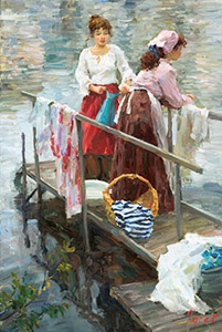 On the river. Laundresses