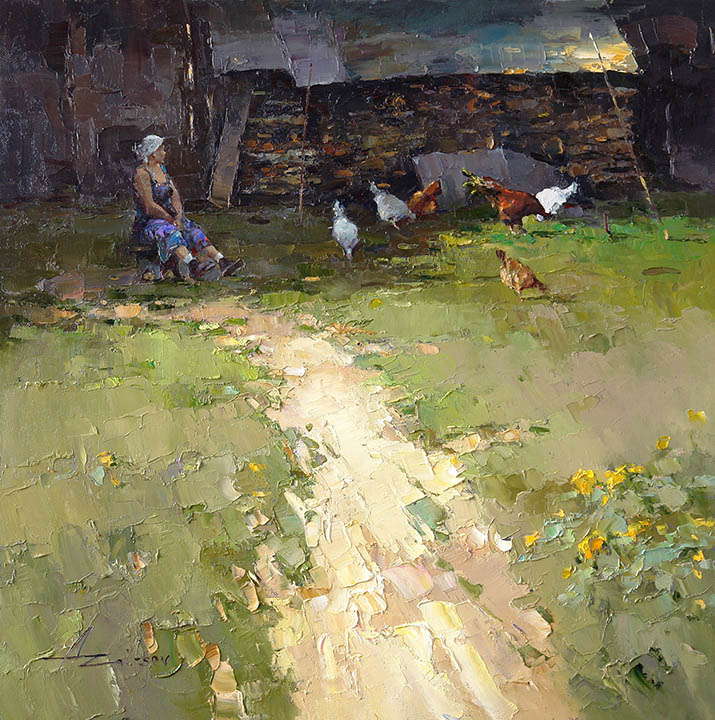 Mrs Nyura farm, Alexi Zaitsev- genre painting, paintings, chicken coop, chickens hostess