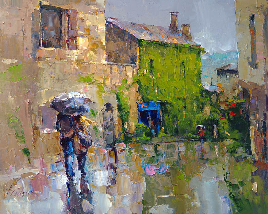 Rain in Provence, Alexi Zaitsev- French cityscape, painting, impressionism