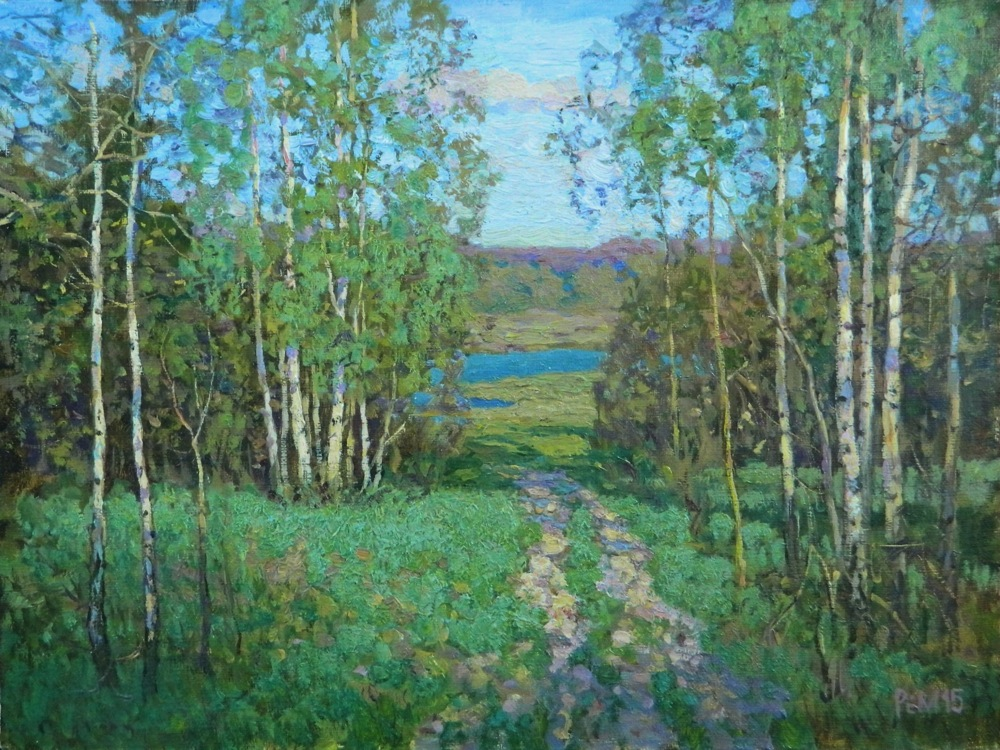 First green #2, Rem Saifulmulukov- painting, spring, wood, first grass, birches, landscape