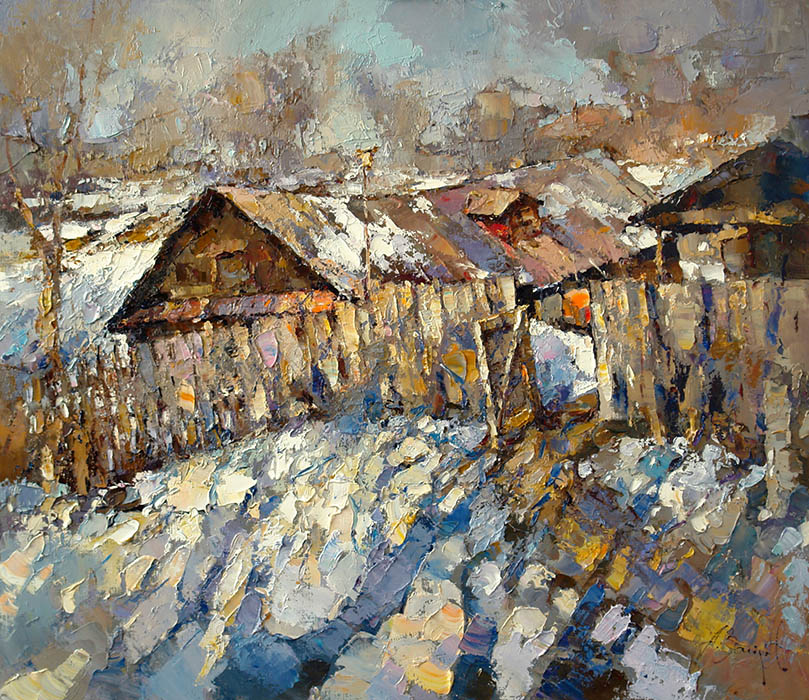 Baking hot, Alexi Zaitsev- rural landscape, early spring, Tver region, painting
