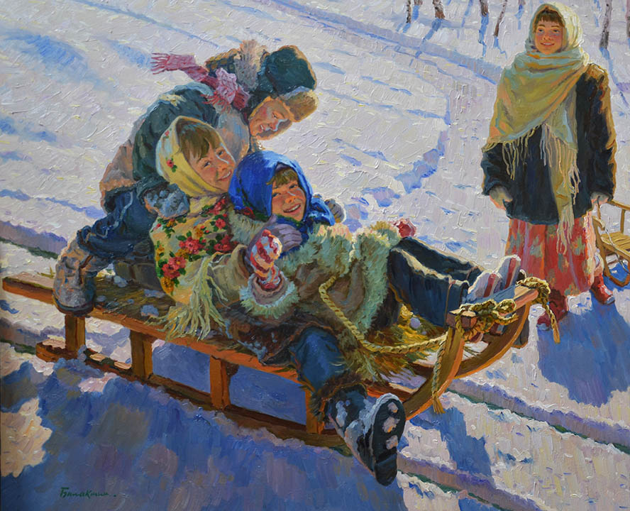 Winter fun, Evgeny Balakshin- painting, winter, snow, children sledding, fun, frost