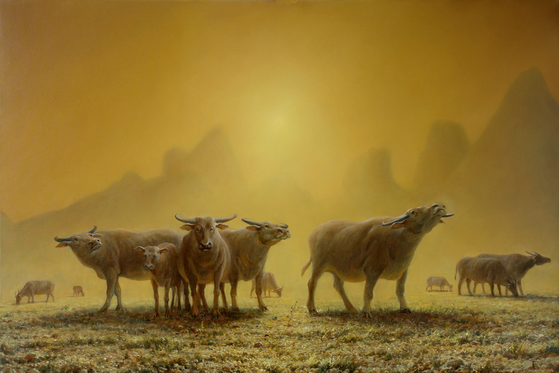 Buffaloes, George Dmitriev- painting, animals,  mountains, a herd of buffalo,realism