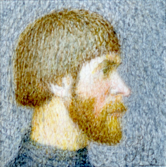 Self-portrait into a profil (the size is 0,9x0,9 cm), Alexsandr Mukhin-Cheboksarsky