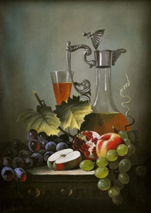 Still-life with an apple and a pomegranate
