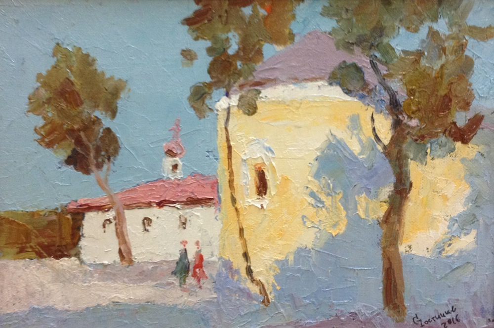 Church, Sergey Postnikov- painting, temple, summer day, blue sky, trees, landscape