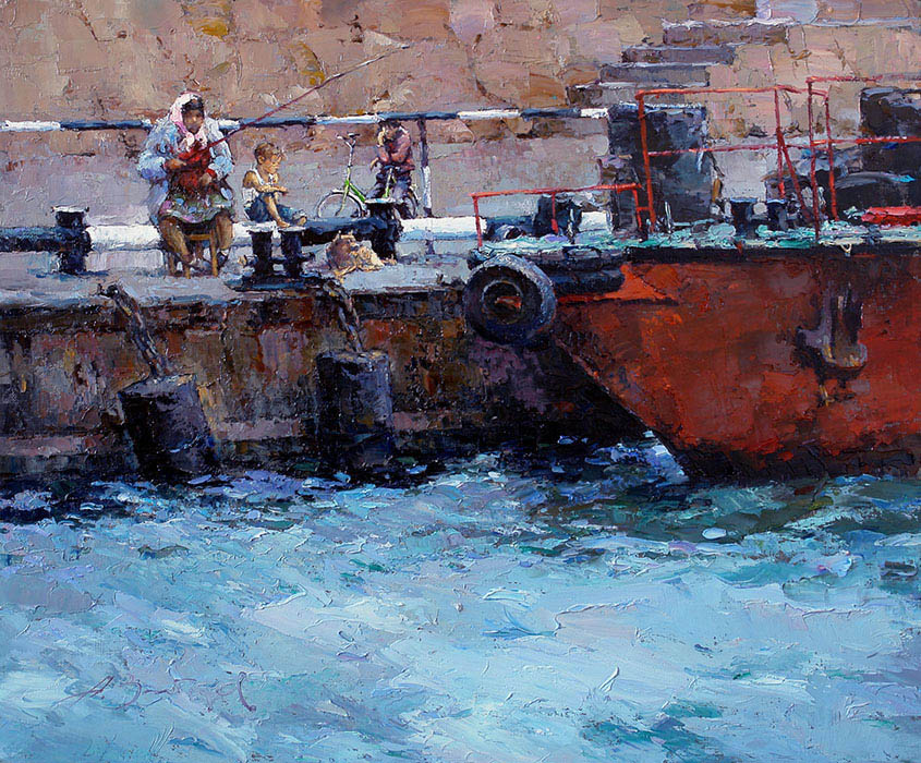 Thursday evening, Alexi Zaitsev- Fishermen in the old city pier, seascape with people