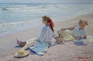 Girls on the shore of Azov