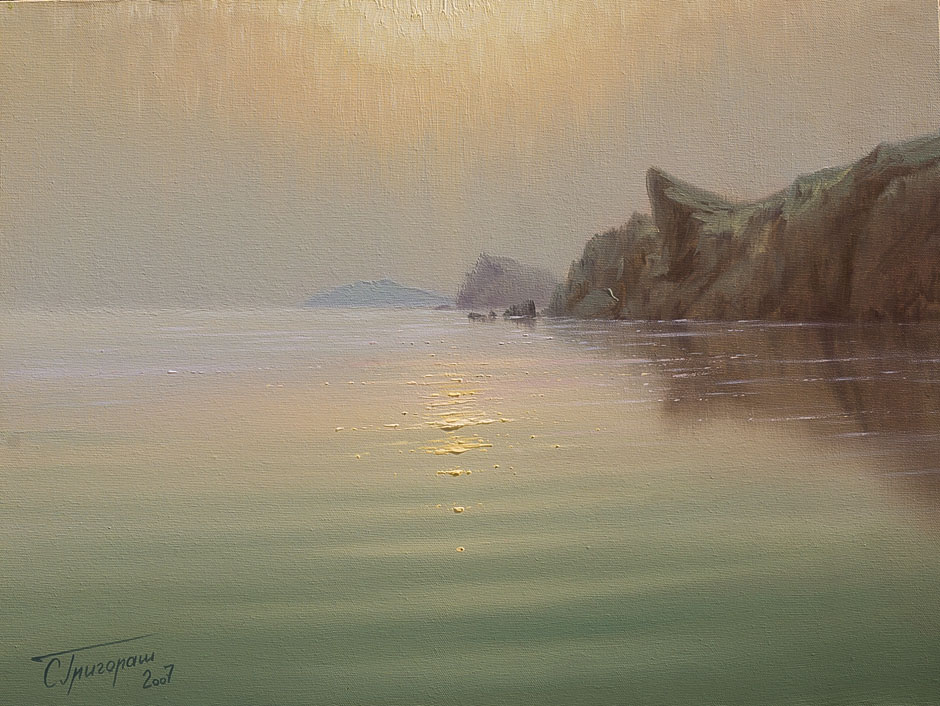 Calm, Sergey Grigorash- sea cliffs, evening sea, painting realism, lunar footprint