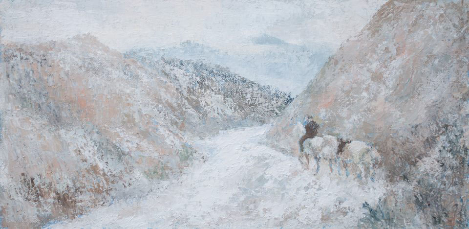 Follow your own way and let people say whatever, Sergey Postnikov- philosophical painting mountain landscape, two horses, rider