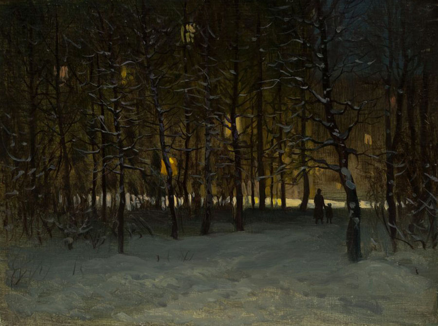 Winter evening, Rem Saifulmulukov- painting, winter, snow, trees, evening, realism, landscape