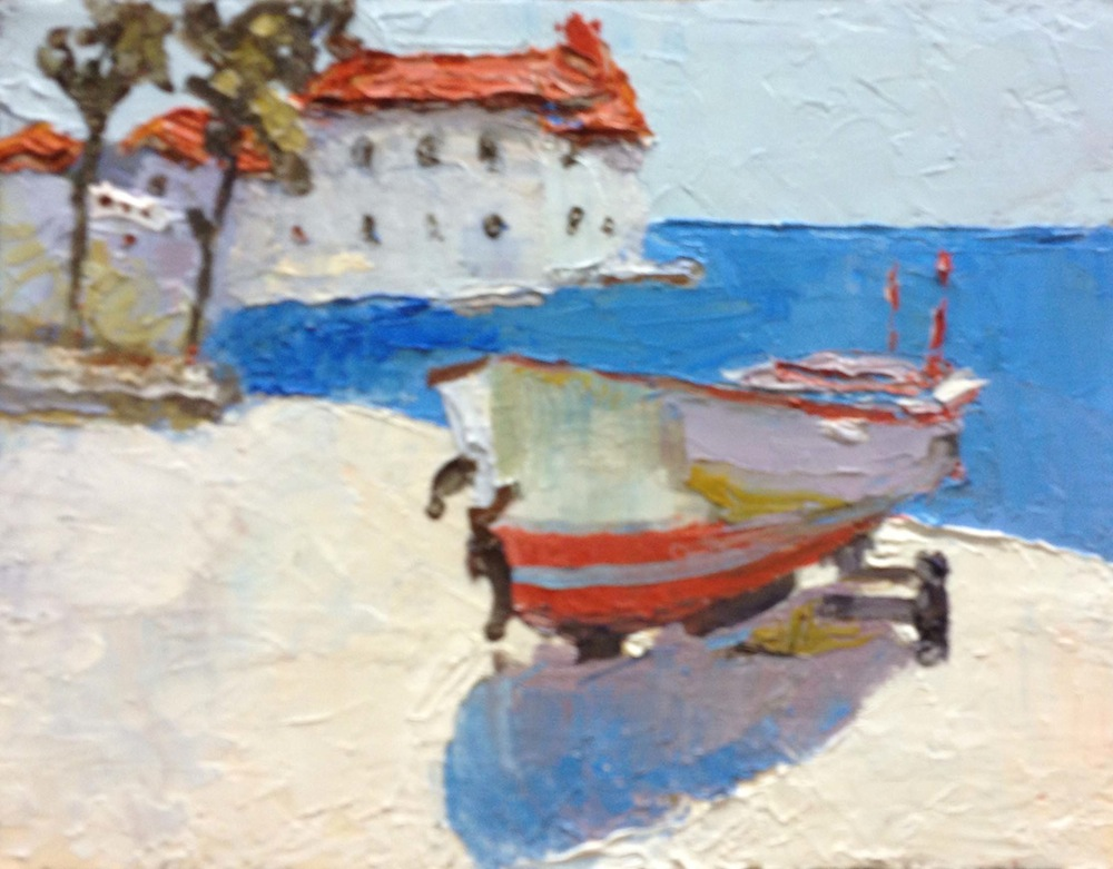 Boat on the shore, Sergey Postnikov- painting, seascape, house on the beach, boat, summer