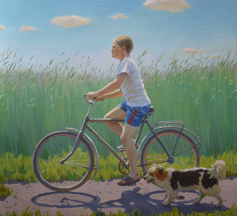 The song of a lark, Evgeny Balakshin- Boy on the bicycle, running dog, painting realism