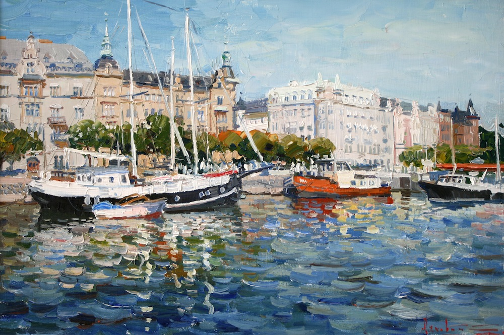 Embankment in Stockholm, Sergei Lyakhovitch- painting, Sweden, boat station, the Baltic Sea