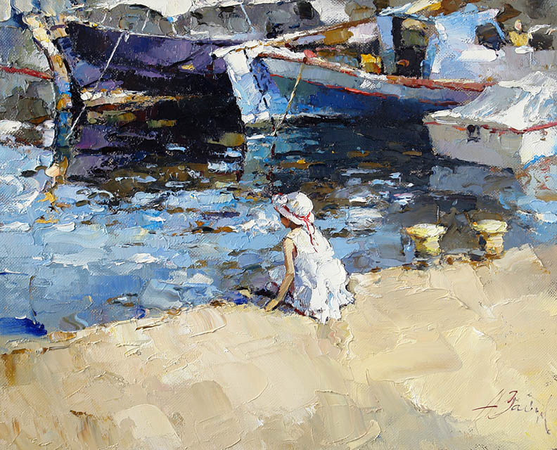 The girl and sea, Alexi Zaitsev- mooring boat, girl in panama, painting, impressionism