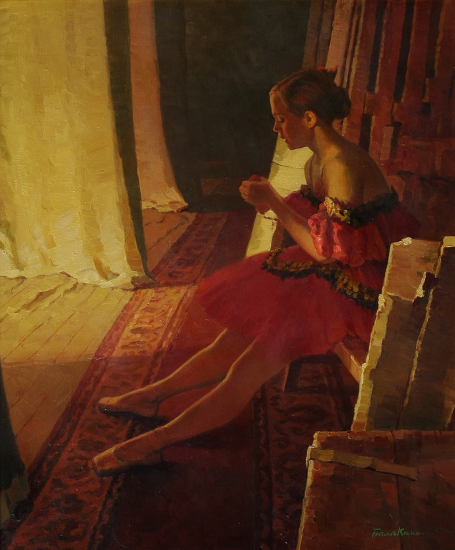 In an interval, Evgeny Balakshin- painting,  ballerina,  scene,rest, realism